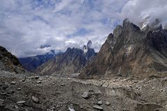 Trango Towers from Khorburtse royalty free stock photo
