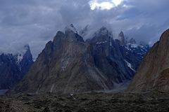 Trango Towers from Urdukas royalty free stock images