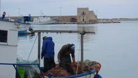Trani - ψαράδες στο λιμένα απόθεμα βίντεο