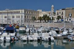 Trani, Apulia, Italy. View of the seaside promenade and old port. Stock Photo