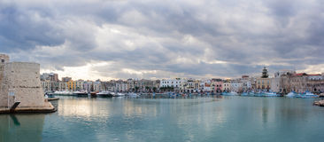Trani Apulia panoramic view of the fishing port royalty free stock image