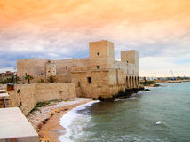 Trani castle at the sunset Stock Image