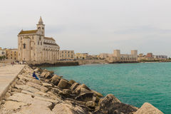 Trani cathedral, Puglia region, South of Italy. Trani cathedral with stone made pier, Puglia region, South of Italy royalty free stock photos