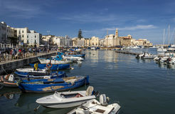 Trani harbor with Cathedral on background.  Stock Photography