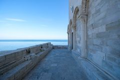 Trani Italy. View of the Adriatic Sea as seen from the entrance of Trani Cathedral, located next to the port. royalty free stock photography