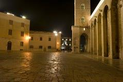 Trani por el arco de la noche de la catedral Fotografía de archivo