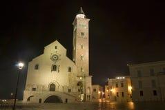 Trani por la catedral de la noche Foto de archivo libre de regalías