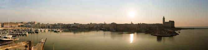 Trani's harbor panorama - Italy Royalty Free Stock Photo