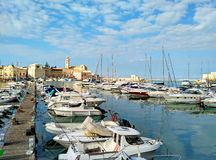 Harbour of Trani, scenic small town in Puglia, Italy royalty free stock image