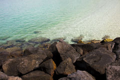 Tranparent water. Beautiful blue tranparent whater of Playa Blanca in Lanzarote Island Spain Stock Photography