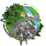 Tranports miniatures d'isolement de globe photos stock