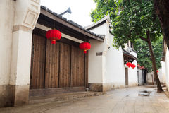 Tranqui Chinese traditional alley. Royalty Free Stock Images