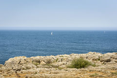Tranquil Atlantic Ocean in Fortaleza de Sagres, of Portugal Stock Image