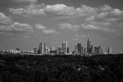 Tranquil Austin Greenbelt Black and white Skyline Stock Photo