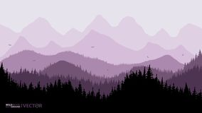 Tranquil backdrop, pine forests, mountains in the background. purple tones. Flying birds royalty free illustration