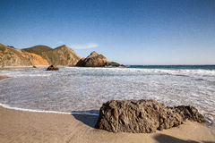 Tranquil beach in Pfeiffer state beach. Beautiful Pfeiffer stat beach in Big Sur, CA Royalty Free Stock Images