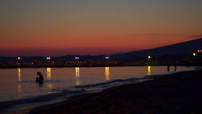 Tranquil beach sunset in Greece.  stock footage