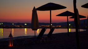 Tranquil beach sunset in Greece stock footage