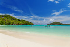 Tranquil and beautiful Polone beach at Mahe island, Seychelles Stock Photography