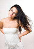 Tranquil beauty shot of brunette. Royalty Free Stock Image