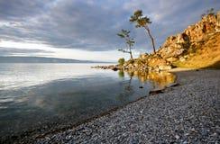 Tranquil coast of Lake Baikal.Olkhon island.Russia Stock Photos