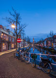 Tranquil evening by the canal in the city of Delft Stock Photography
