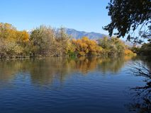 Tranquil. A tranquil fall scene along the Jordan River in West Jordan, Utah stock photos