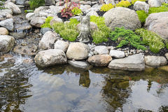 Tranquil Garden and Pond. Tranquil garden with a pond and buddha statue Royalty Free Stock Image