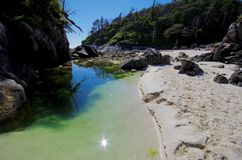 Tranquil green tide pool in the summer sun between two islands on British Columbia`s central coast Stock Image
