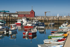 Tranquil harbor. Rockport fishing town off the coast of New England Stock Photo