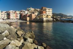 Tranquil harbor scene at Boccadesse, Italy royalty free stock photos