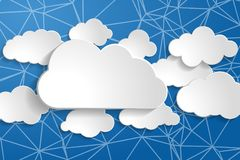 tranquil illustration of white paperclouds collection on wire ne stock illustration