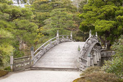 Tranquil Japanese-style bridge. A zen-like tranquil bridge crossing a stream, Kyoto Imperial Palace complex, Japan Royalty Free Stock Images