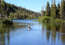 Tranquil Kayak Ride Through Mammoth Lakes Stock Photos