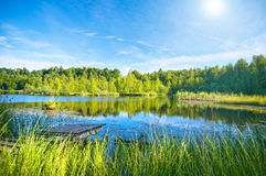 Tranquil lake in the forest royalty free stock photos