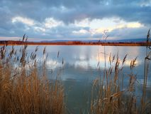 Tranquil lake at Naszaly, Hungary stock images