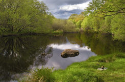Tranquil lake scape with beautiful reflection and green forest background. Ireland if full of this kind of beautiful lakes royalty free stock photo