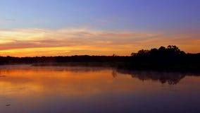 Tranquil lake sunrise fog. Sunrise on the lake, sunrise over river, morning Landscape tranquil lake sunrise fog stock footage
