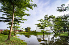 Tranquil lake surrounded As-Salam Mosque located in Malaysia Stock Photography