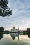 Tranquil lake surrounded As-Salam Mosque located in Selangor, Malaysia. With reflection on the lake Stock Photography