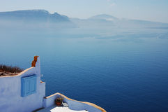 Tranquil landscape. In Oia (Santorini island, Greece royalty free stock photography