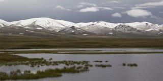 Tranquil landscape Lake Son-Kul, Kyrgyzstan.  Stock Photo