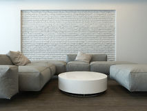 Tranquil modern grey living room interior Stock Images