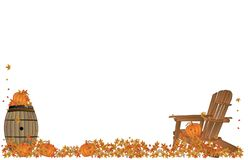 Tranquil moments in the Fall... Group of pumpkins and fall leaves lying around, on a wooden barrel and Adirondack chair illustration Royalty Free Stock Photography