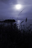 Tranquil moon over the Aegean sea Royalty Free Stock Photography