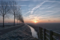 Tranquil morning busy sky. A tranquil frosty rural sunrise Stock Photography