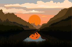 Tranquil mountain lake. With fish Stock Images