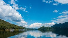 Tranquil moving clouds over calm lake. stock footage