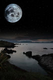 Tranquil night time coastal irish view Stock Images