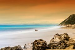 Tranquil Ocean scene, Golden Hour Long Exposure Shot Stock Images